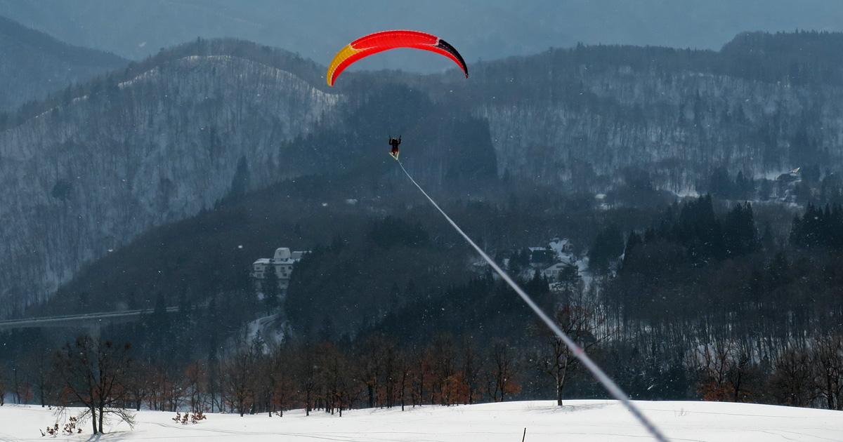 栂池高原スキー場「パラグライダートーイング」